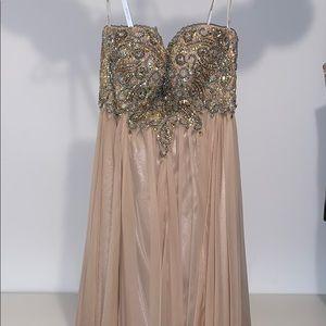 Jovani Floor Length Nude sequined Prom dress